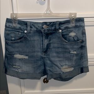 light washed distressed jean shorts